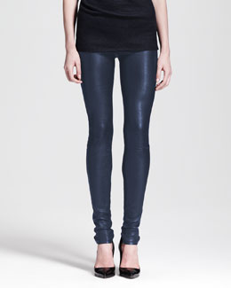 Helmut Lang Leather Leggings, Midnight