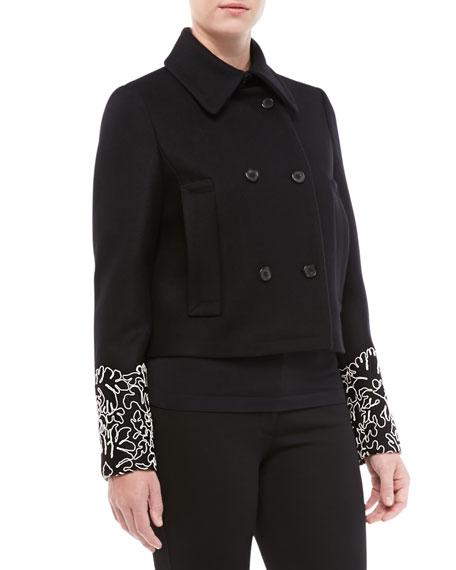 Melton Wool Lace-Sleeve Peacoat