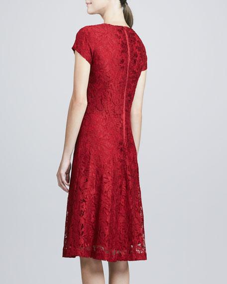 Lace Cap-Sleeve Cocktail Dress