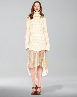 Michael Kors Chantilly-Lace Skirt