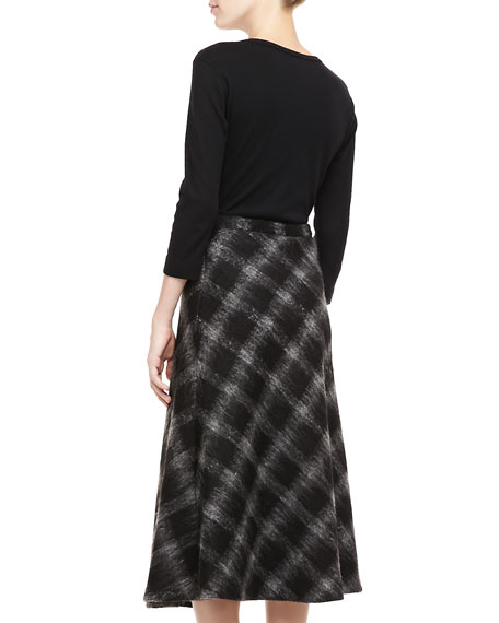 Buffalo Check A-Line Skirt, Black