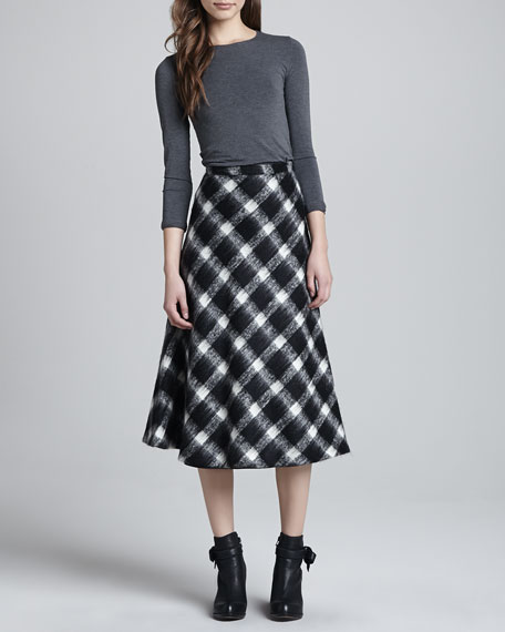 Buffalo Check A-Line Skirt, Ivory