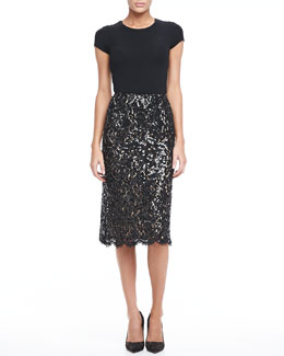 Michael Kors Floral Embellished Lace Skirt