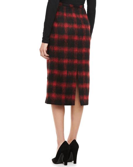 Buffalo Plaid Oven-the-Knee Pencil Skirt