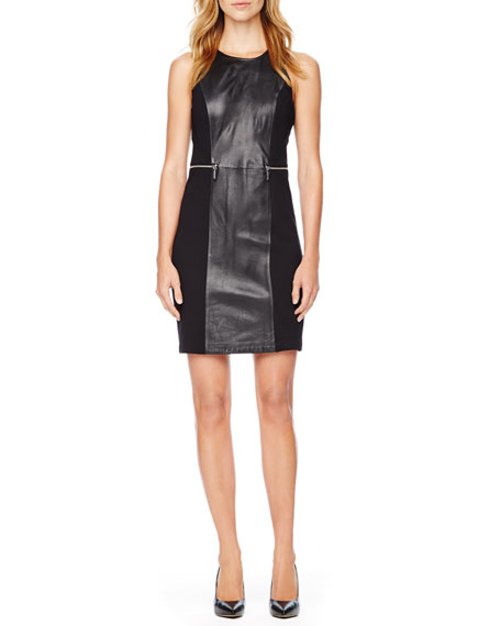 Leather-Front Dress