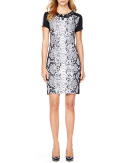 MICHAEL Michael Kors  Snake-Print Jeweled Dress