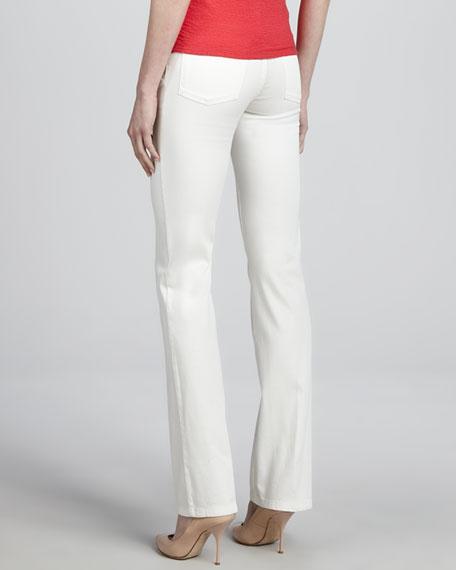 Denim Straight-Leg Trousers, White