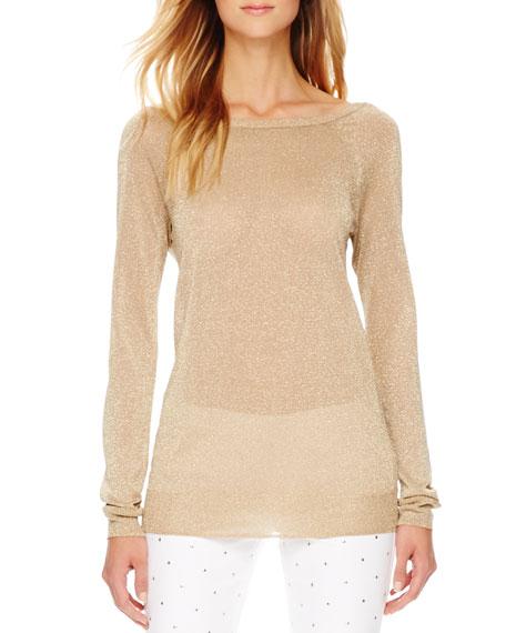 Metallic Cowl-Back Sweater