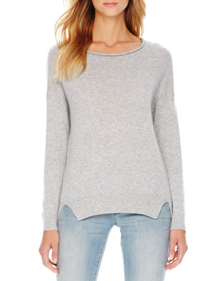 Long-Sleeve Drop-Shoulder Cashmere Sweater