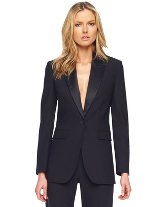 Wool One-Button Blazer, Black