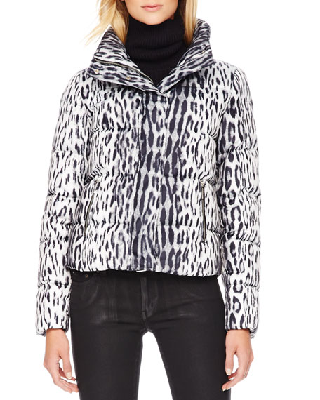 Cropped Printed Puffer Jacket