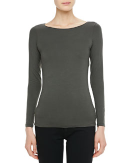 Majestic Paris for Neiman Marcus Long-Sleeve Jersey Boat-Neck Top