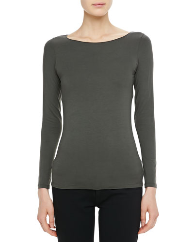 Long-Sleeve Jersey Boat-Neck Top
