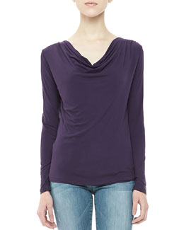 Majestic Paris for Neiman Marcus Drape-Neck Jersey Top