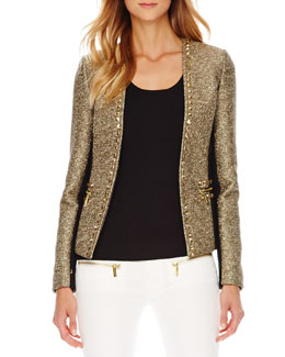 MICHAEL Michael Kors Studded Tweed/Ponte Jacket