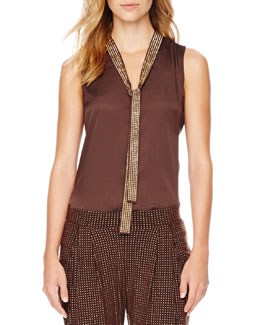 MICHAEL Michael Kors Beaded Tie-Neck Blouse