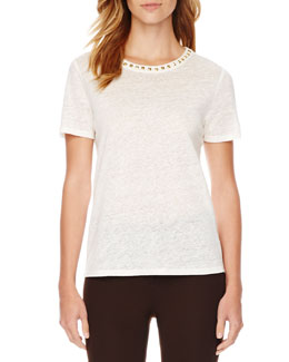 MICHAEL Michael Kors  Stud-Neck Linen Top