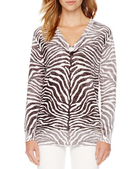 Zebra-Print Faded Sweater