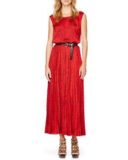 MICHAEL Michael Kors  Printed Pleated Maxi Dress