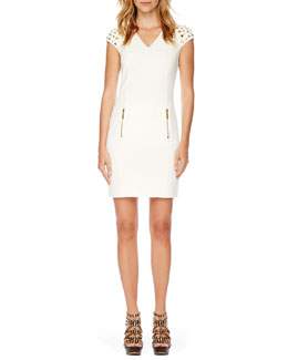 MICHAEL Michael Kors Stud-Shoulder Ponte Dress