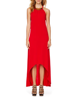 MICHAEL Michael Kors Plate-Neck Maxi Dress