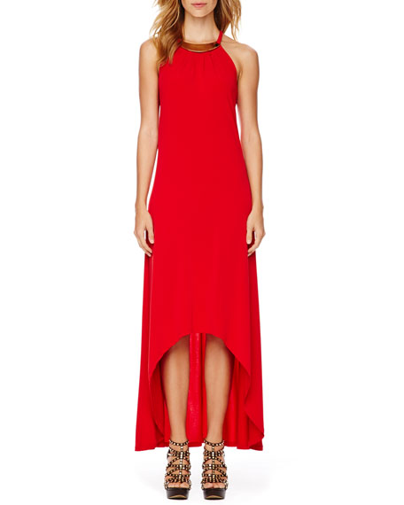 Plate-Neck Maxi Dress