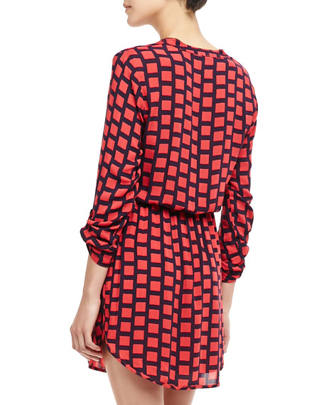 Windowpane Drawstring Shirtdress