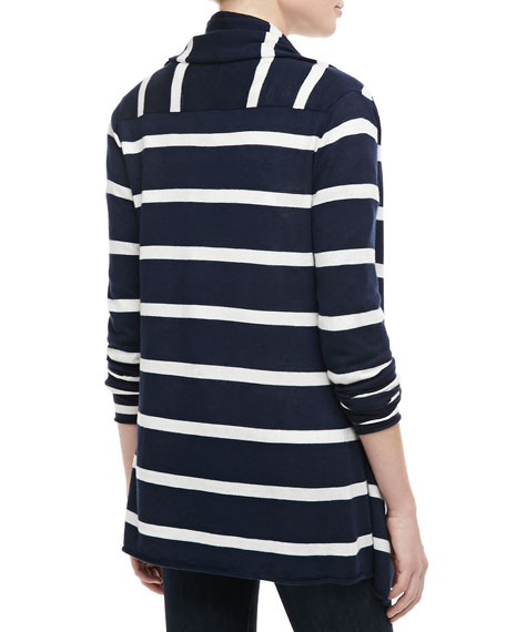 Striped Cascade-Front Sweater