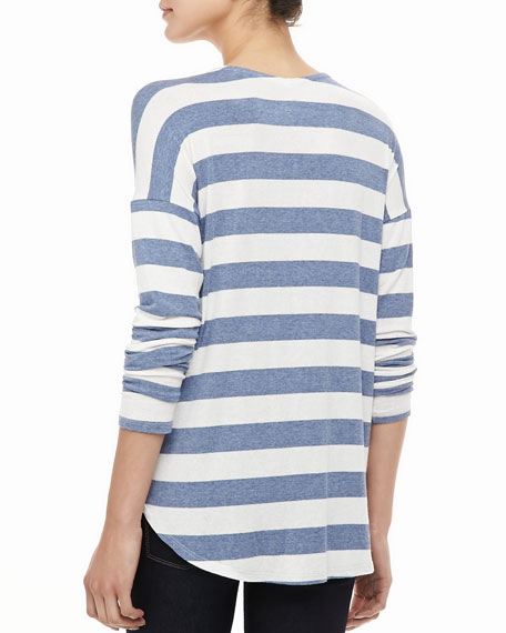 Lux Striped Pocket Tee