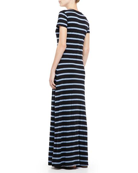 Short-Sleeve Striped Maxi Dress
