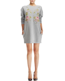 McQ Alexander McQueen Cotton Sweatshirt-Dress, Gray
