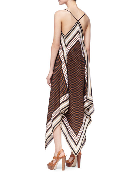 Printed Sleeveless Scarf Dress