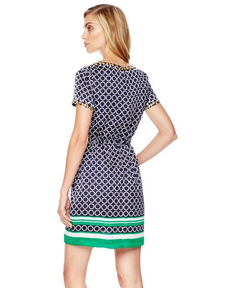 Printed Satin Drawstring Dress