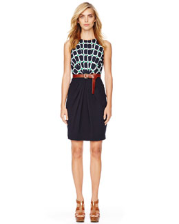 MICHAEL Michael Kors  Gathered-Waist Crepe Dress