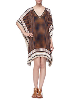 MICHAEL Michael Kors  Printed Studded Caftan Dress