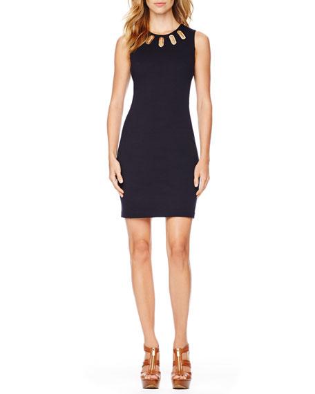 Oval-Grommet Knit Dress