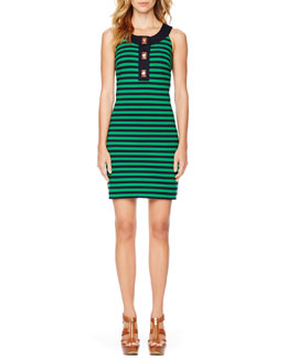 MICHAEL Michael Kors  Turnlock Striped Ponte Dress