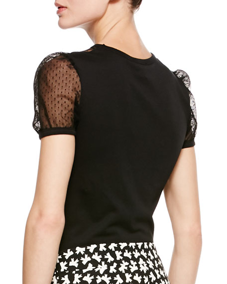 Point d'Esprit Tee, Black