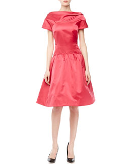 Zac Posen Satin Folded-Neck Flared Dress, Raspberry