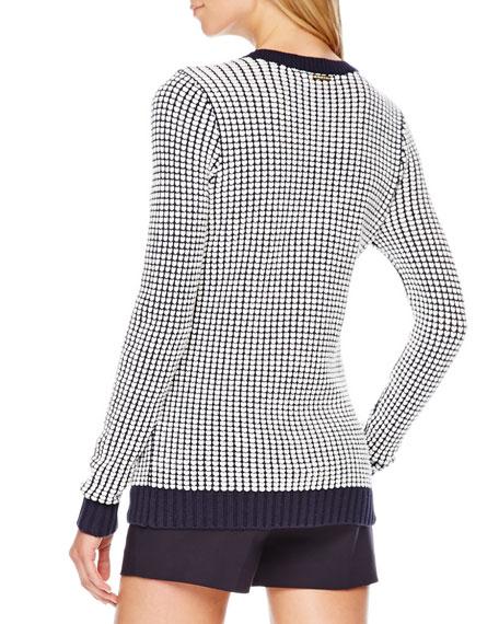 Knit Grid-Print Sweater