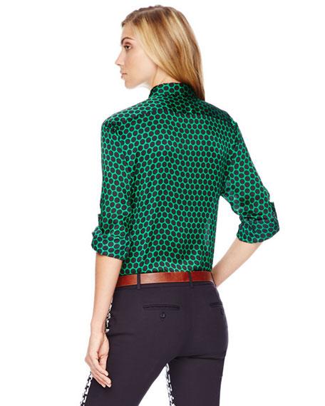 Printed Tab-Sleeve Blouse, Women's