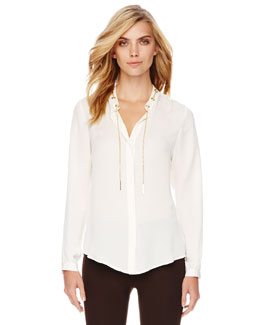 MICHAEL Michael Kors Chain-Collar Blouse