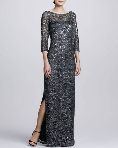 Three-Quarter-Sleeve Sequined Gown