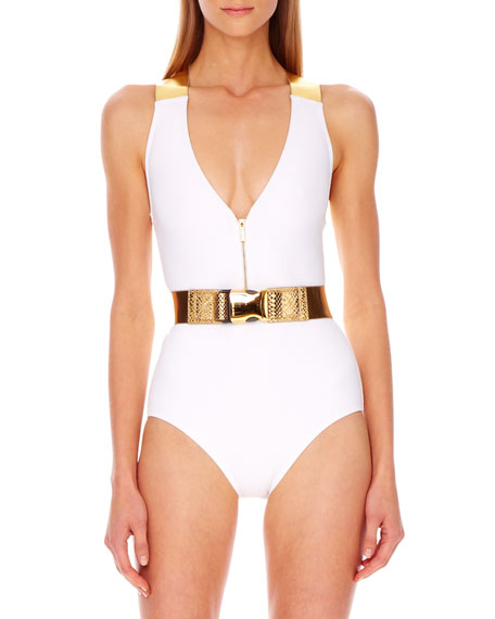 Belted Metallic-Strap Maillot