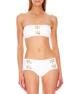 Michael Kors  Lace-Up Bandeau Bikini