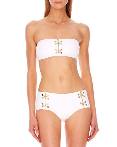 Michael Kors  Lace-Up Bandeau Bikini
