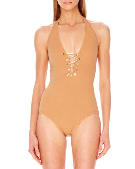 Lace-Up Plunge Maillot