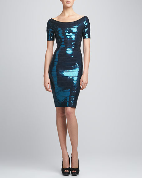 Boat-Neck Sequined Bandage Dress