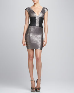 Herve Leger Two-Tone Metallic Bandage Dress
