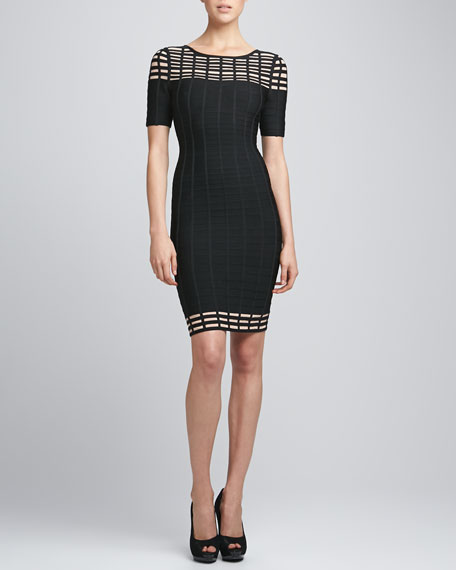 Half-Sleeve Bandage Dress, Black